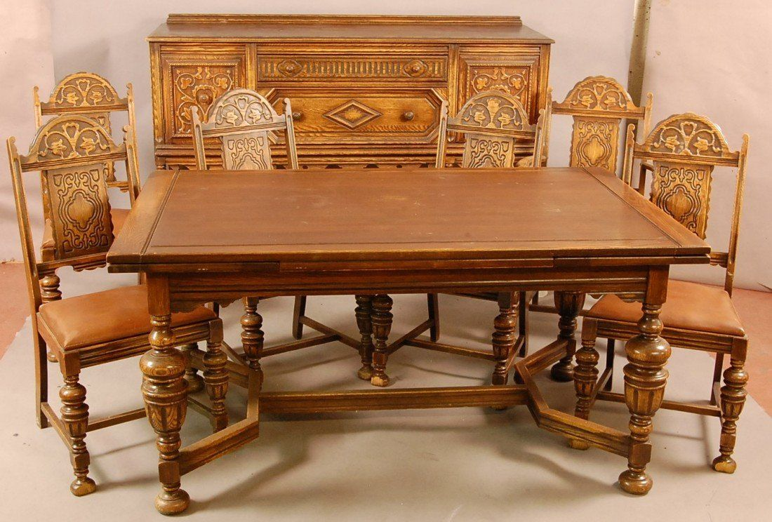 1920s Dining Room Furniture 549 Jacobean Style 1920 S Oak 8 Pc Dining Room Set Wi Antique Dining Room Table Oak Dining Room Oak Dining Room Table