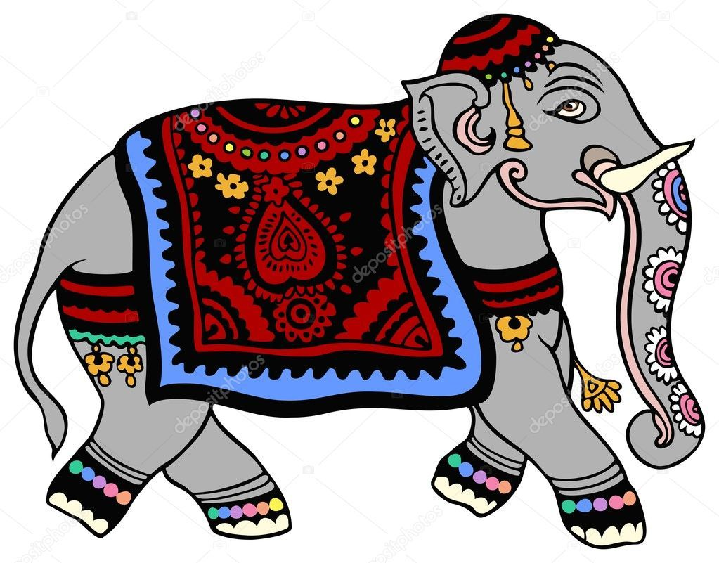 Elefante Vestido Para Una Fiesta Ilustracion De Stock Indian Elephant Elephant Love Elephant