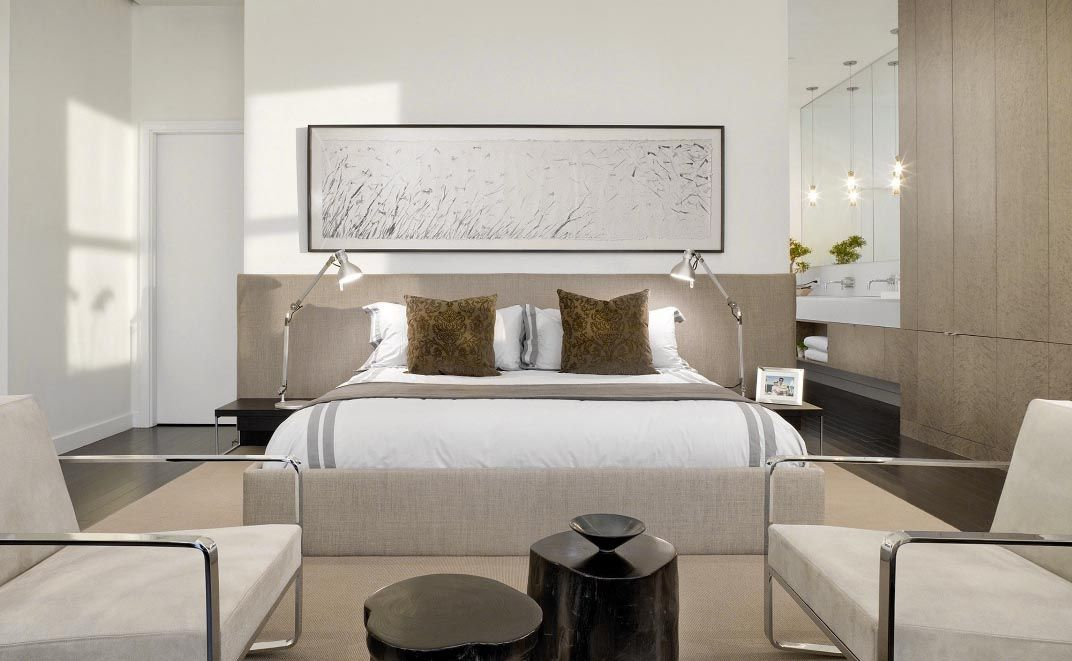 Beautiful modern style bedroom decor with extra wide