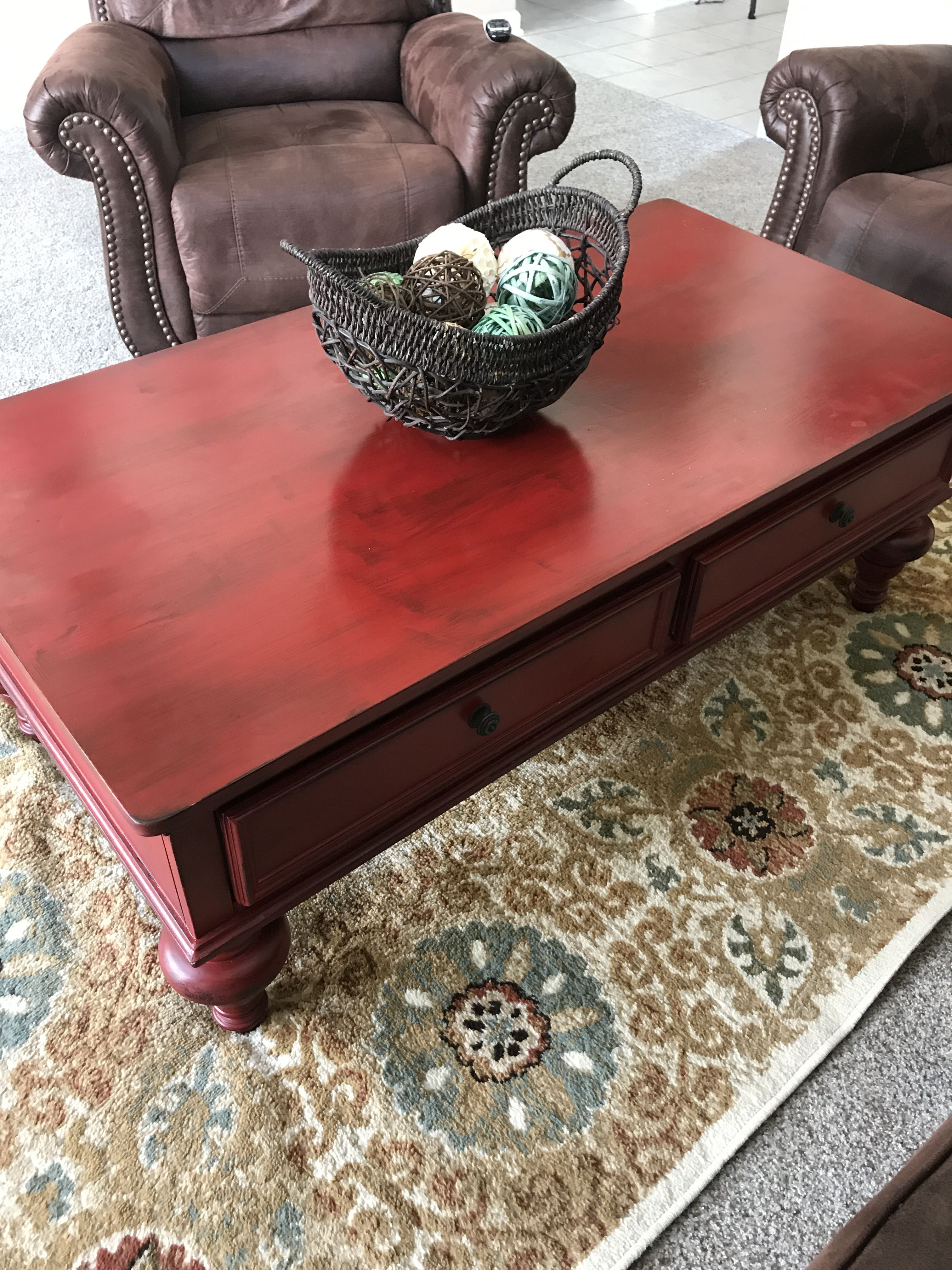 - Went Bold To Refinish My Coffee Table With A Rustic Red Furniture