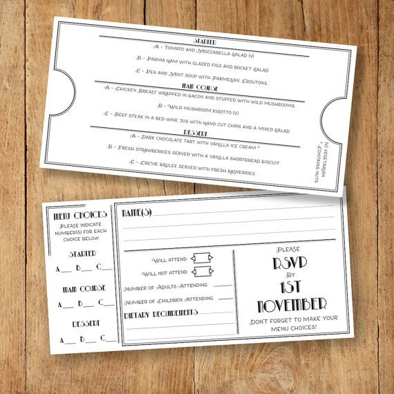 Menu And RSVP Template With Menu Choices Selection Card Editable PDF Menu Template Instant