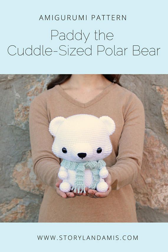 PATTERN: Cuddle-Sized Polar Bear Amigurumi, Crocheted Teddy Bear, Toy Tutorial, PDF Crochet Pattern, Holiday Winter Crochet #crochetbear
