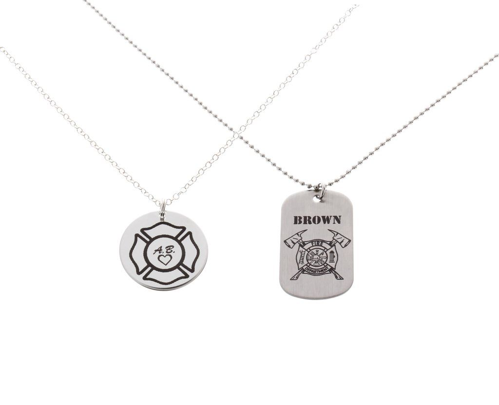 rescue solid maltese fire firefighter silver sterling pendant badge necklace cross
