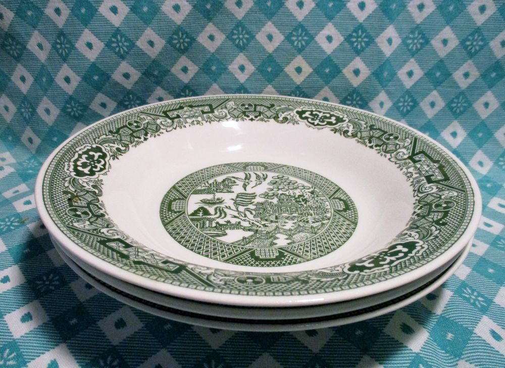 Vintage Green Willow Royal China Soup Bowls x 3 in Excellent Condition. : green willow dinnerware - pezcame.com