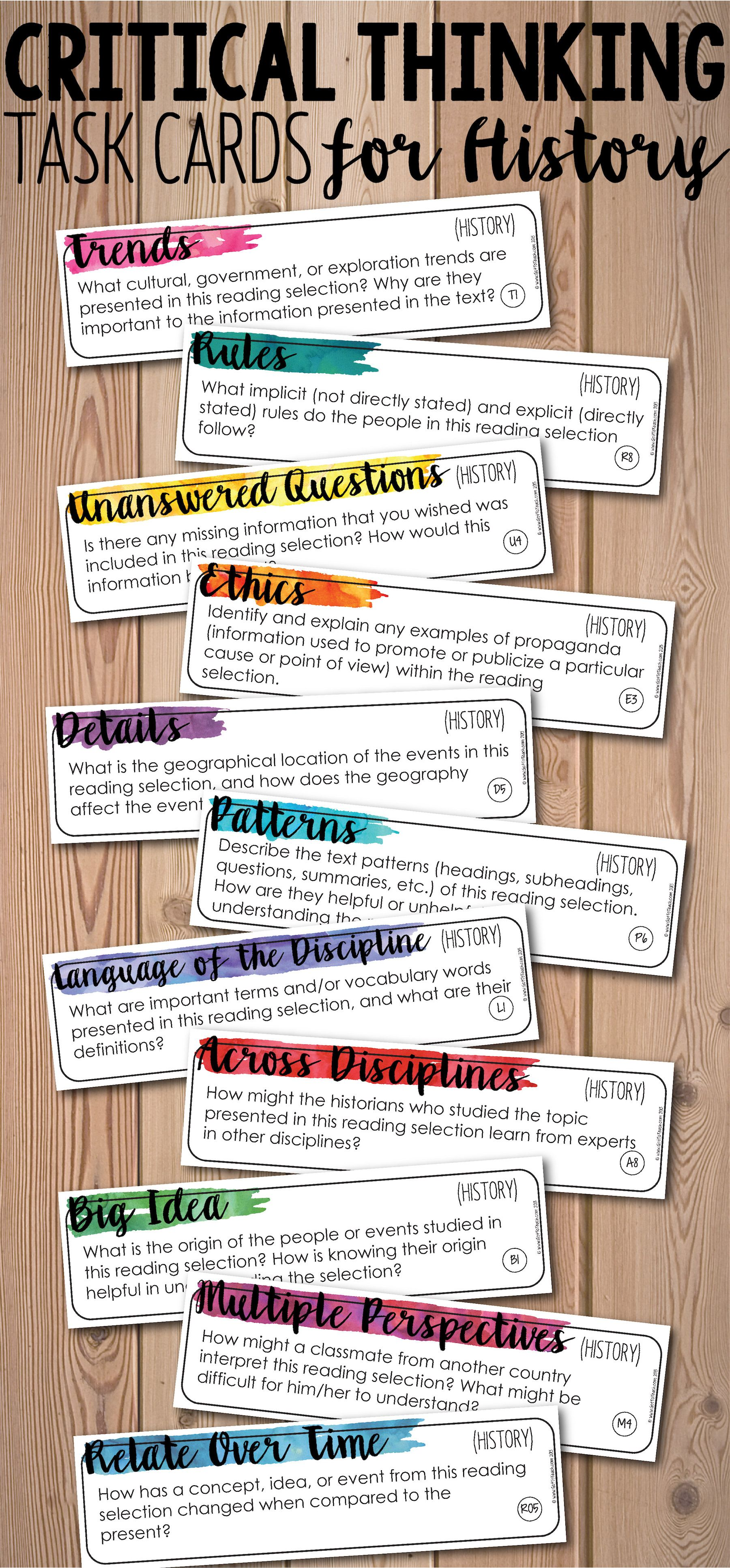 Depth And Complexity Critical Thinking Task Cards For