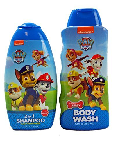 Paw Patrol 2 in 1 Shampoo and Body Wash Bundle - Body wash, Paw patrol, Shampoo, Daily shampoo, Body, Paw - PAW PATROL KIDS BATH SET Includes one 2in1 Shampoo plus conditioner in 10 oz bottle and One 12 oz Paw Patrol Body wash  Both are in PUP PUP Berry scent making bath time more extra fun 2in 1 CONDITIONING SHAMPOO combines shampoo and conditioner in one formula  Special Conditioners detangle and help stop flyaway hair  Natural fragrances and mild ingredients are specially formulated for kids' fine hair and sensitive skin  Packed in a convenient 10oz Bottle  PAW PATROL BODY WASH will get your kids squeaky clean  Developed especially for kids and enriched with Vitamin E, the natural fragrances and mild ingredients are formulated for kids' sensitive skin  The easy grip package makes it fun for kids to use