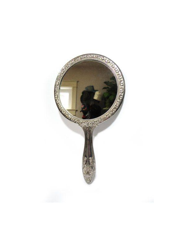 Bon Vintage Mirror Round Hand Mirror Round Mirror Silver Plated Mirror Antique  Mirror Hand Held Mirror Victorian Mirror Elegance Roses Scrolls | Pinterest  ...