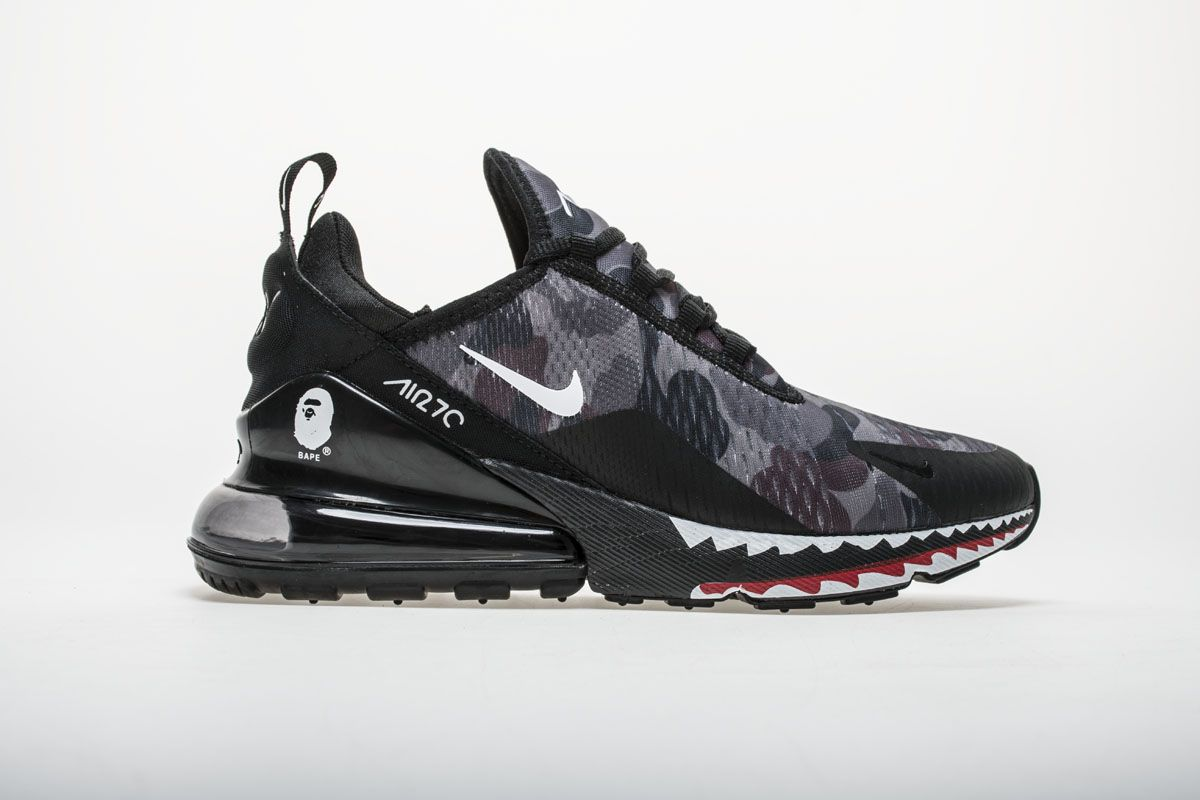 Creative Customized Japanese Camo Bape A Bathing Ape X Nike Air Max 270 Series Heel Half Palm Cushion Jogging Shoes The Shark Black Grey Camo
