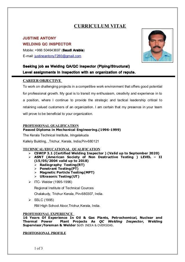 Curriculum Vitae Justine Antony Welding Qc Inspector Mobile 966