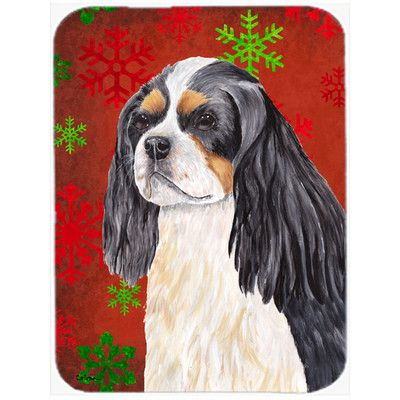 Caroline's Treasures Snowflakes Cavalier Spaniel Glass Cutting Board Color: Red/Green