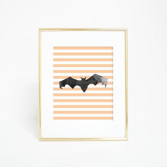 Bat Print Halloween Decor Bat Wall Art by PrintsbyJettyHome Autumn - print halloween decorations