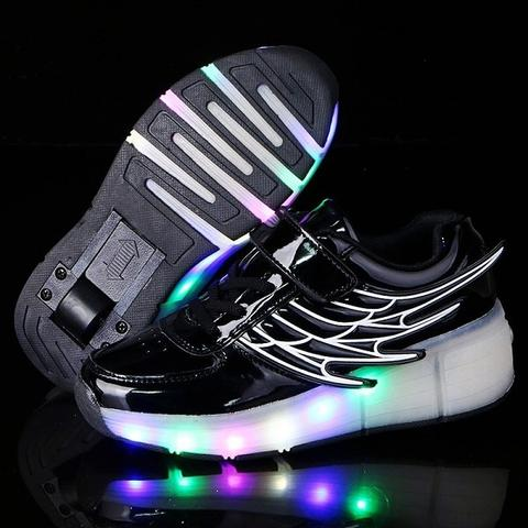 Girls Boys Wing USB Charging Led Light Sneakers Shoes with Wheel,Kids Roller Skate Shoes