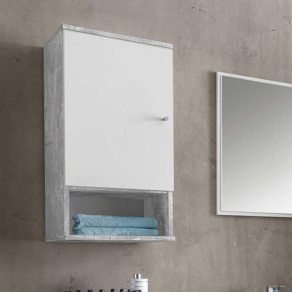 badezimmer h ngeschrank in wei grau beton optik 35 cm breit jetzt bestellen unter https. Black Bedroom Furniture Sets. Home Design Ideas