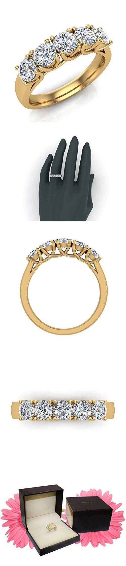 bb11ce9ab3b5 Five-Stone Wedding Band 14K Gold Classic Trellis Setting Diamond Ring 1.10  Carat Total Weight (G