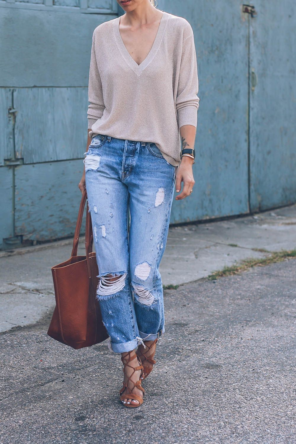 840dd0f5f2bc Laid Back Luxe: Ripped Jeans and Lace Up Heels | Boyfriend Jeans ...