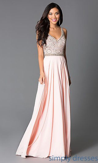 Long Beaded Sleeveless Pink Prom Dress   Pinterest   Prom, Beads and ...