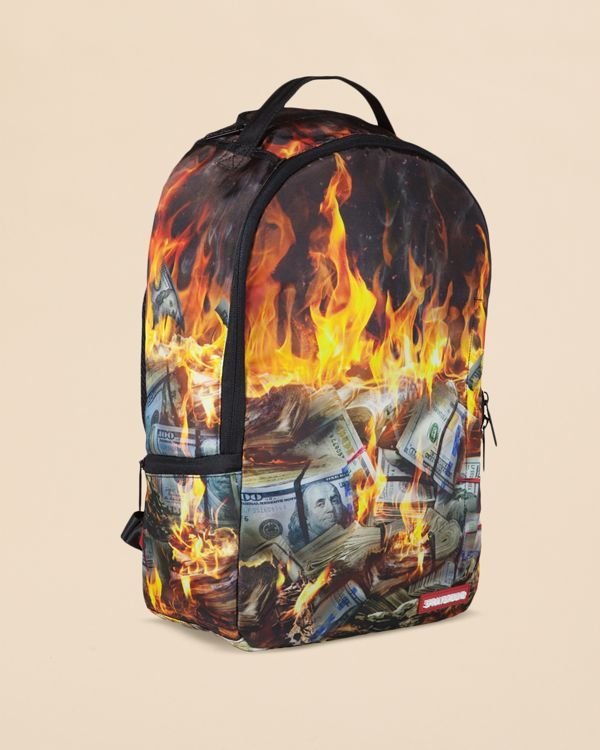 1009d27f55 Sprayground Fire Money Backpack | Polyester | Wipe clean with damp cloth |  Imported | Carry handle at top, adjustable shoulder straps | Top and side  zip ...