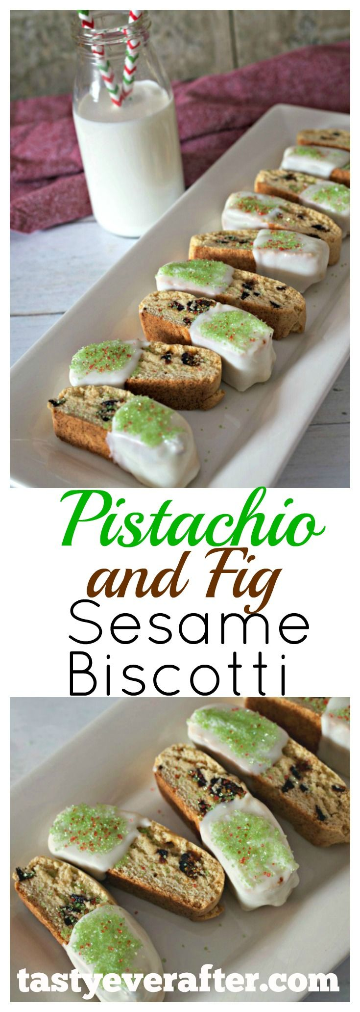 a modern spin on the classic Italian twice-baked cookie that's flavored with sesame paste, a hint of cardamon, crunchy pistachios, chewy dried figs, and coated in white chocolate.