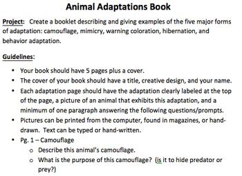 Animal Adaptations Project Animal Adaptations Animal Adaptations Projects Adaptation Projects