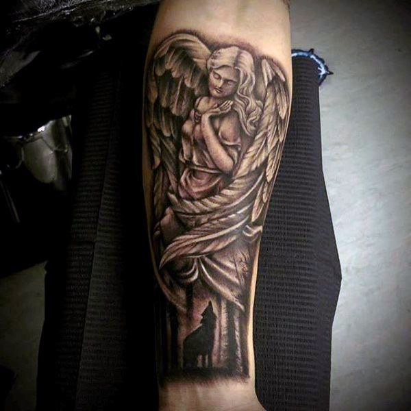 Beautiful Wings Guardian Angel And Screaming Fox Tattoo ...