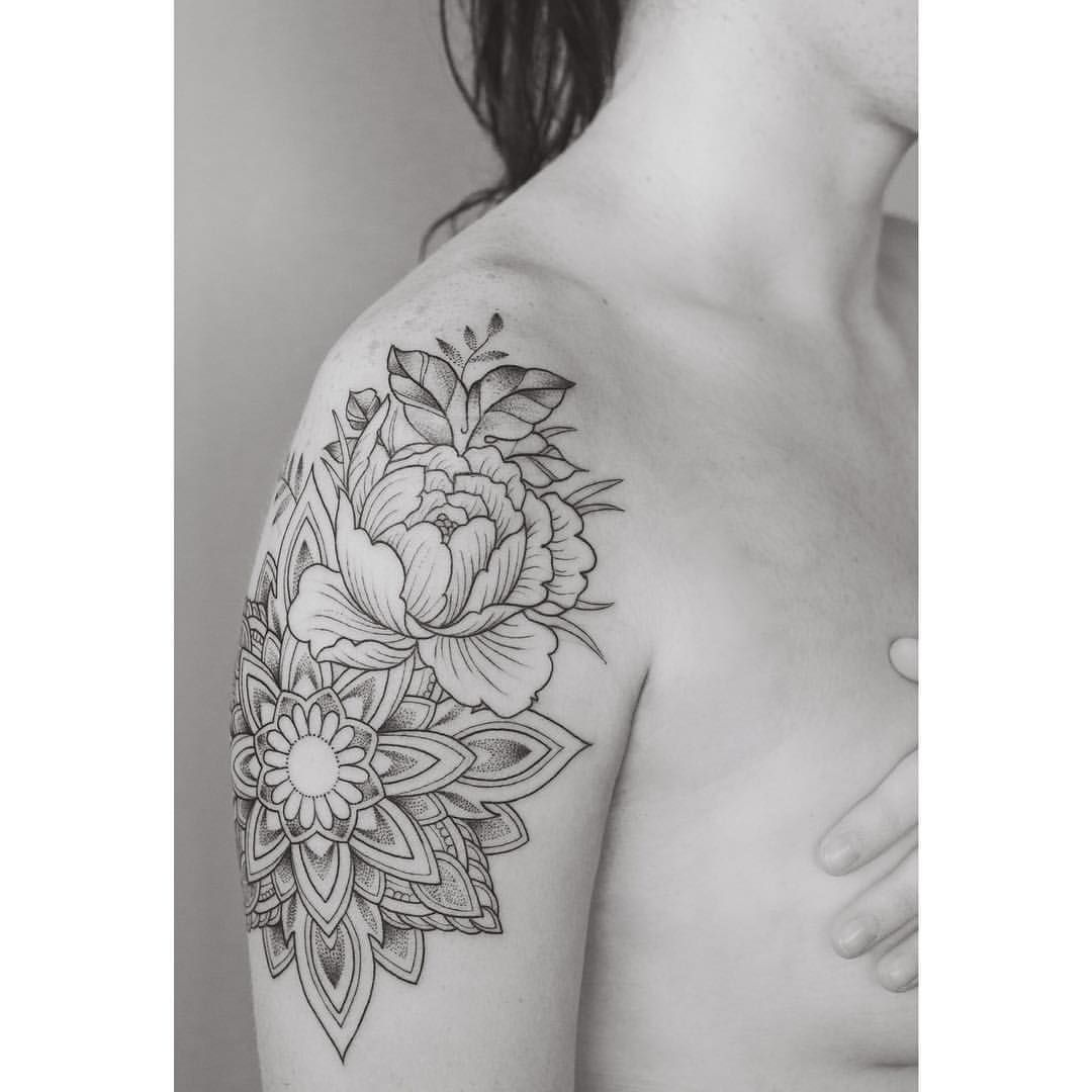 Mandala And Flower Tattoo: Started A Mandala Sleeve Today. Looking Forward To