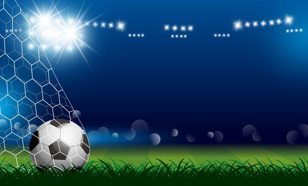 Soccer Ball In Goal On Grass With Spotlight Em 2020 Bola De Futebol Campeonato De Futebol Convites Futebol