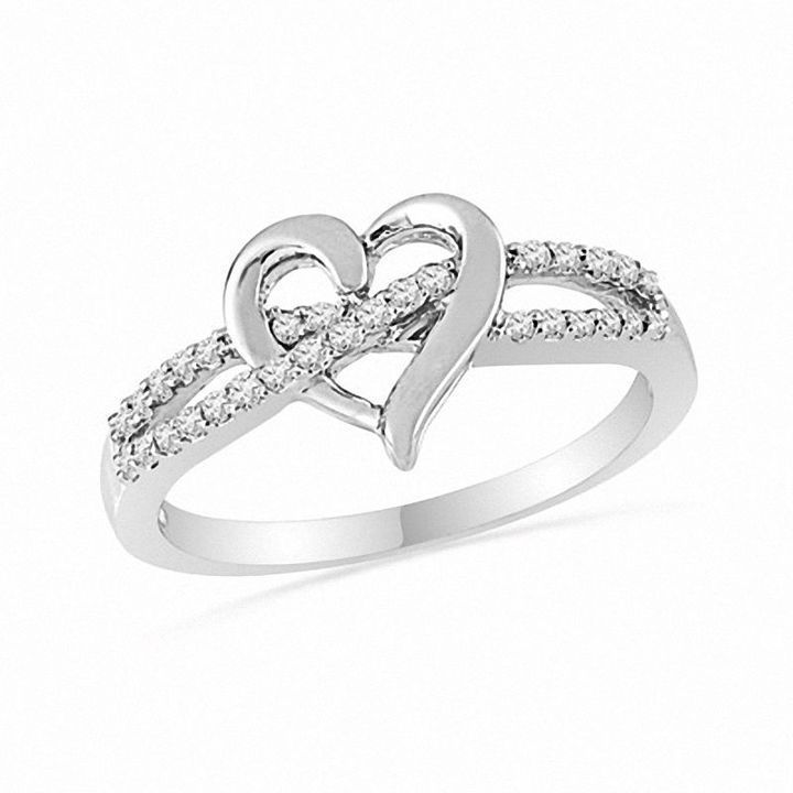 Zales 1/8 CT. T.w. Diamond Heart-Shaped Knot Split Shank Ring in Sterling Silver ASAg5Vy