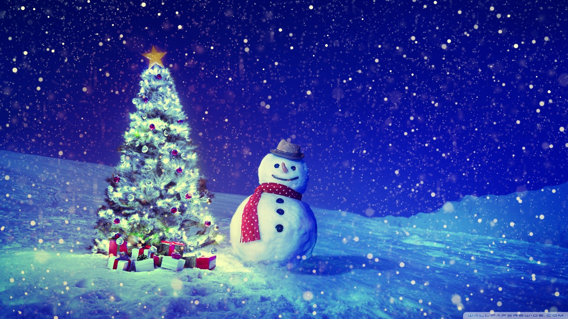 Christmas Tree Snowman Winter Landscape