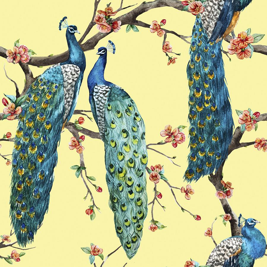 Victorian Peacock On Yellow Yellow Tapestry Peacock Wallpaper Floral Wallpaper