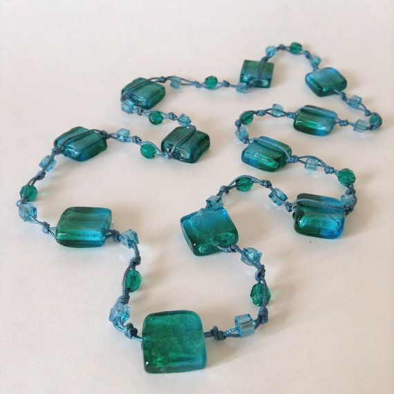 Blue and Green Knotted necklace handmade in UK by LittleGemsbyMel