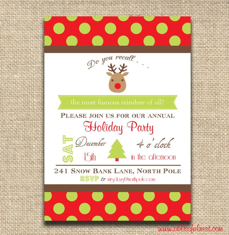 Christmas Party Invitation - Rudolf The Red Nose Reindeer ...