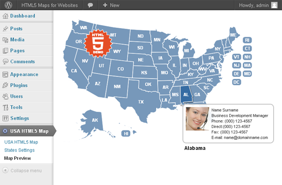 US Interactive HTML5 Map for WordPress | My Style | Map ...