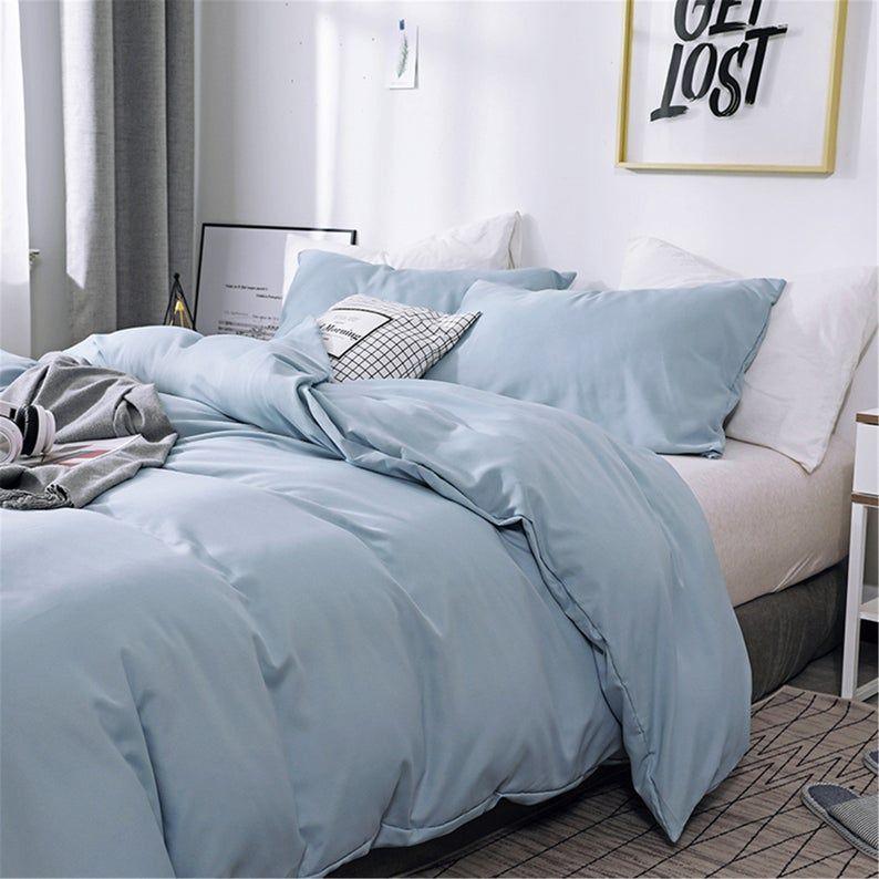Light Gray Blue Autumn Winter 3 Piece Comforter Cover Set Etsy In 2020 Light Blue Rooms Blue Comforter Bedroom Light Blue Bedroom