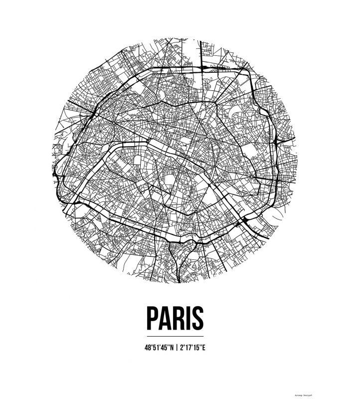 affiche paris france street map deco poster art