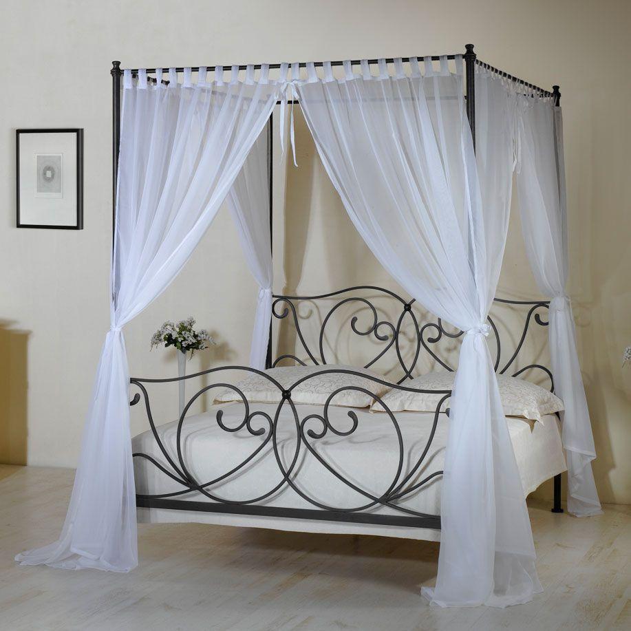 robustes metallbett vila nova inklusive himmel und vorhang, Schlafzimmer entwurf