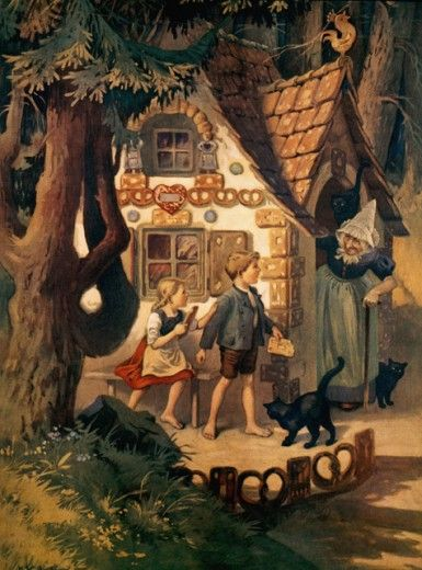 hansel gretel otto kubel 1868 1951 german colored lithograph westfalisches schulmuseum. Black Bedroom Furniture Sets. Home Design Ideas