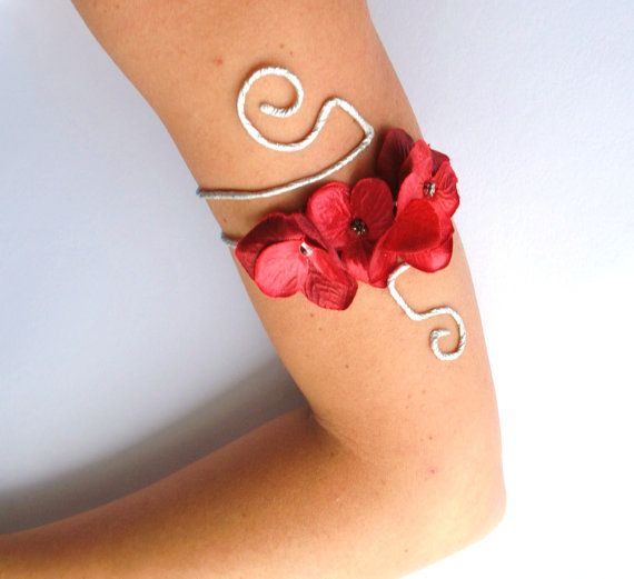 Prom arm cuff red silver bracelet with roses and leaves Available in all colours