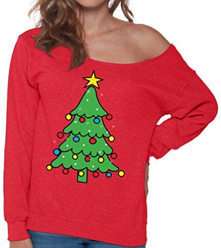 Pekatees Christmas Tree Sweatshirt Ugly Xmas Sweater Off Shoulder