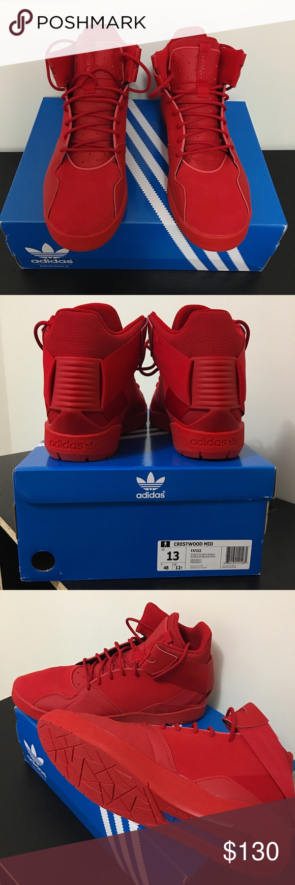 best service 558f1 39698 Mens Adidas Crestwood Mid NEW IN BOX Mens adidas new in box never worn Crestwood  Mid sneaker. Size 13. All red. ♤ ♥ 🃏♢ ♧ Adidas Shoes Sneakers