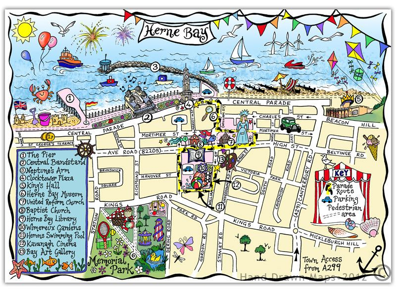 Map of Herne Bay handdrawnmapscouk aka Lydia Bevan Site Maps