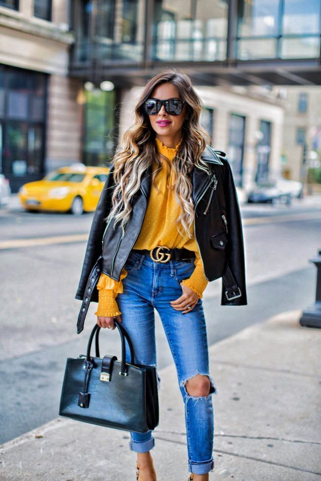 33a747ec98e How To  Grow Your Instagram Following - Shopbop Yellow Top    Kate Spade  Leather Jacket    Gucci  Double G Buckle  Belt    Levi s Jeans    Kurt  Geiger ...