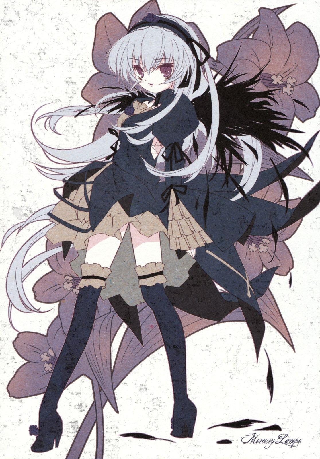 Suigintou Rozen Maiden 水銀燈 Anime Doll elegant Black angel Dark angel