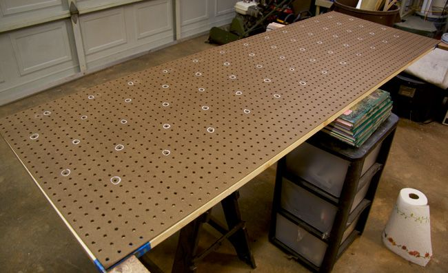 Glitter And Goat Cheese   Marked Pegboard For DIY Tufted Headboard