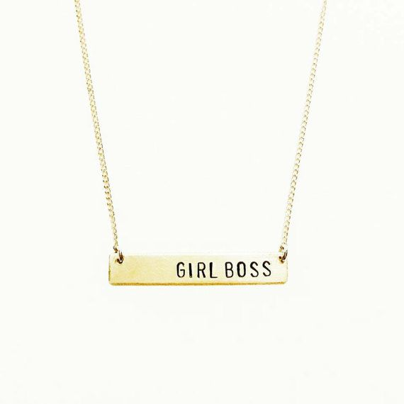 Girl Boss Handstamped Gold Bar Necklace // #feminist approved // the future is female // be a badass