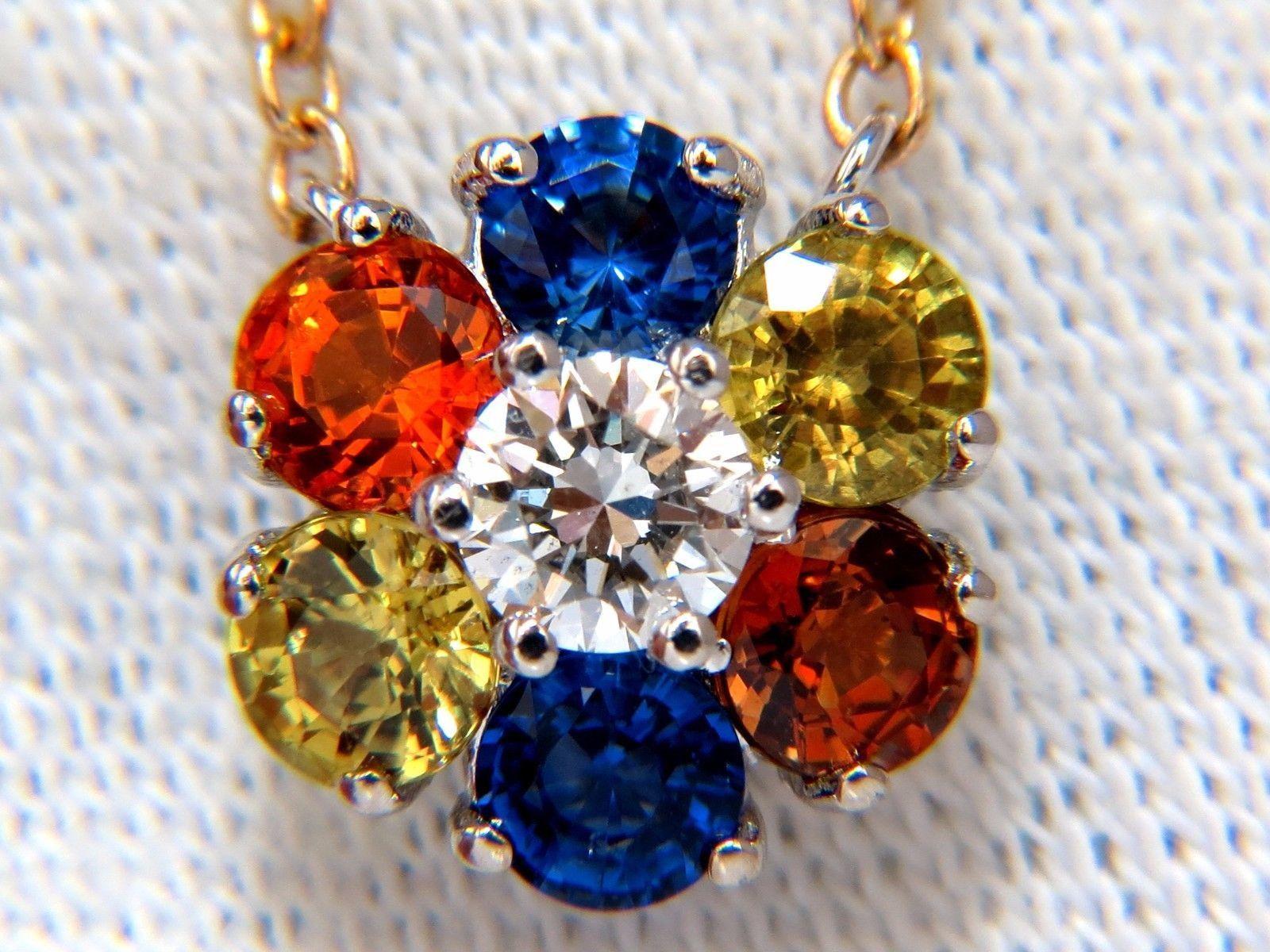 2.26ct natural multi-color sapphires diamond cluster necklace 14kt floretta deco