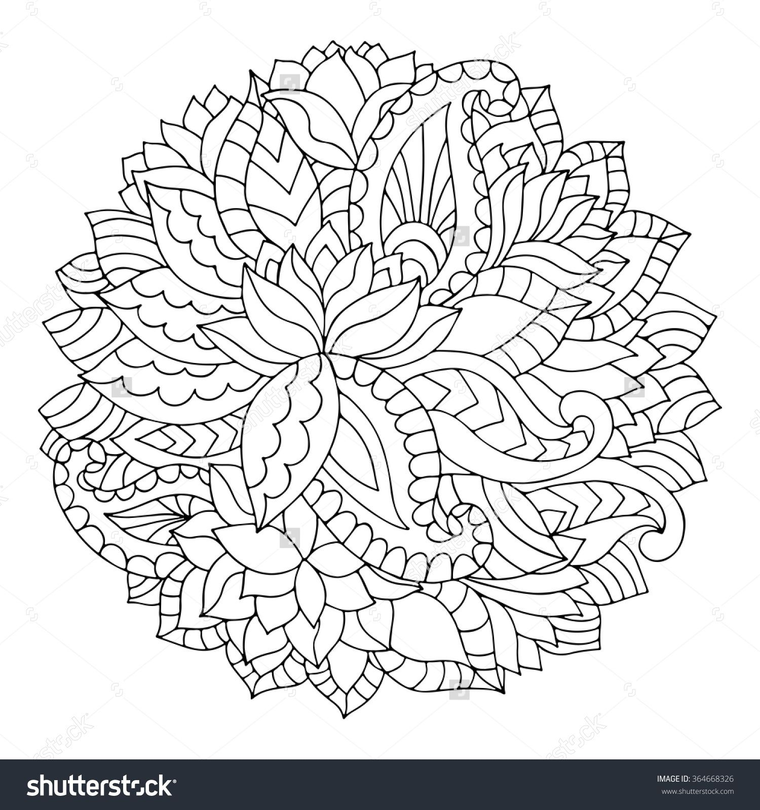 stock vector black and white circle indian floral ornament round