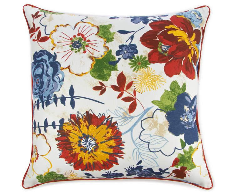 Best Blue Red Marqaux Floral Outdoor Throw Pillow Outdoor 400 x 300
