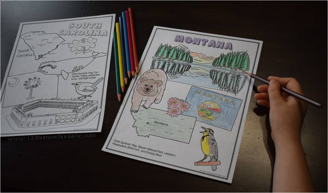 Educational Coloring Pages For Kindergarten : State coloring sheets education geography