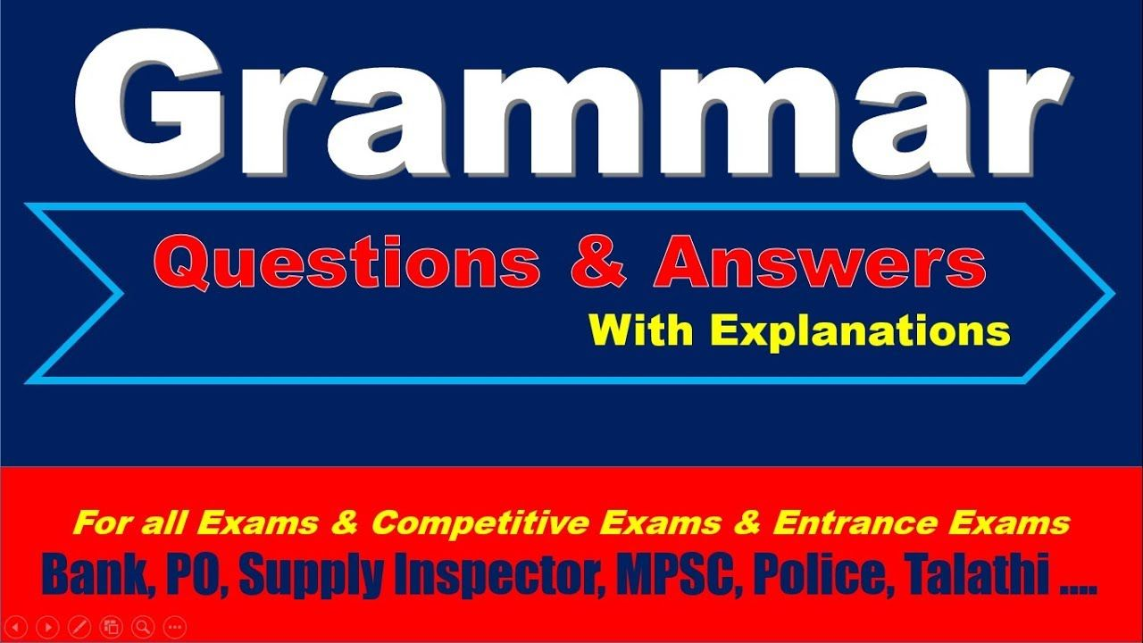 English Grammar Questions and Answers (MCQ) with