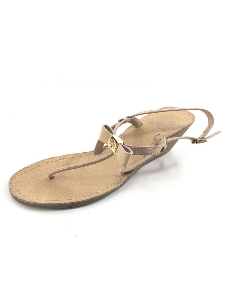 562ab25fb8ab X53 Tory Burch Kailey Nude Patent Bow T Logo Mid Wedge Thong Sandal Women  Sz 8 M  fashion  clothing  shoes  accessories  womensshoes  heels (ebay  link)